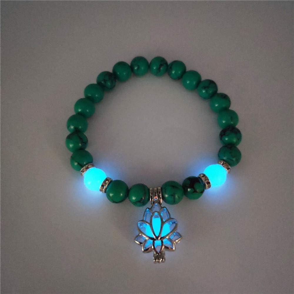 ZMMZYY Pulsera Piedra,la Moda Verde Luminoso Piedra volcánica Natural Lotus Pulseras Hombre Mujer resplandecientes Joyas Accesorio clásico