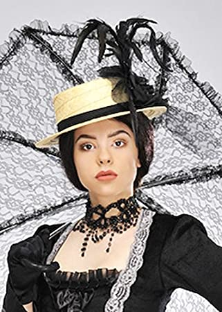 727b084c1 MagicBox Adult Victorian Lady Black Feather Straw Hat: Amazon.co.uk: Toys &  Games