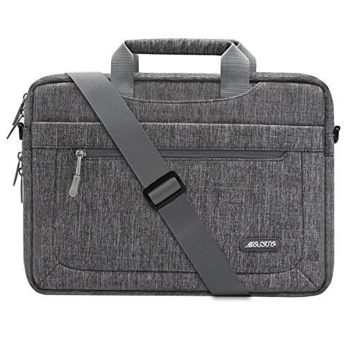 Mosiso Polyester Messenger Laptop Shoulder Bag for 11.6-13.3 Inch MacBook Air, MacBook Pro, Notebook Computer, Protective Briefcase Carrying Case with Adjustable Depth at Bottom, Gray (11.6 Notebook)