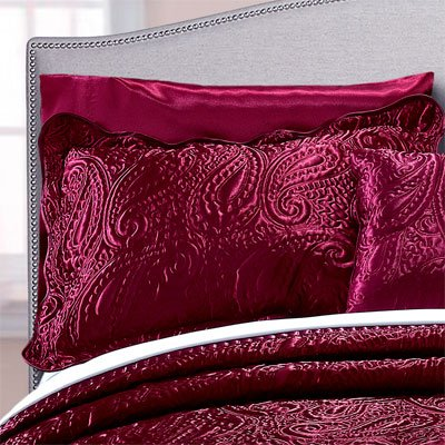 Home Soft Things Serenta Quilted Satin 4 Piece Bedspread Set, King, Burgundy by Home Soft Things (Image #5)