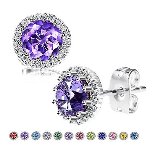 Birthstone Stud Earrings, Copper Plated Cubic Zirconia Earrings for Women Amethyst/February Herinos (For February Birthstone Earrings)