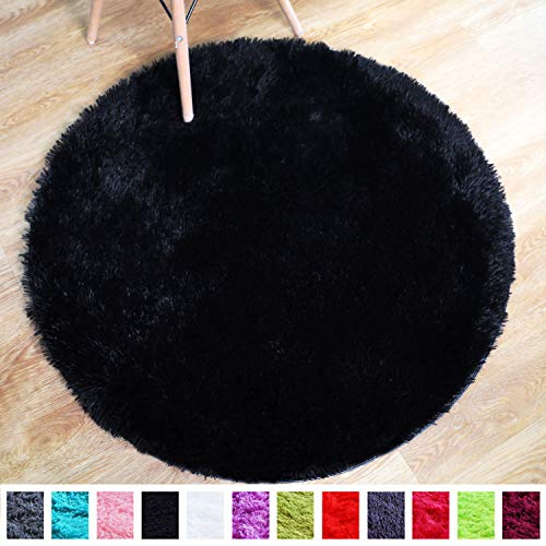 PAGISOFE Super Soft Black Fluffy Area Rug Round Rugs for Bedroom Kids Room Decor Small Cute Circle Floor Carpets for Living Room Fur Mat 3.4 Feet(Black) (Area Round Rugs Fluffy)