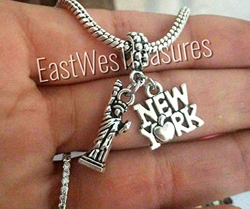 (EWT I Love New York,The Big apple, Statue of Liberty, NY Landmark, Travel charm pendant- For bracelets or necklaces)