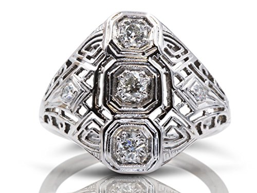 - Antique Style Diamond Engagement Ring in 18 Karat White Gold 0.32 Carat Round Old Miners Cut Diamonds