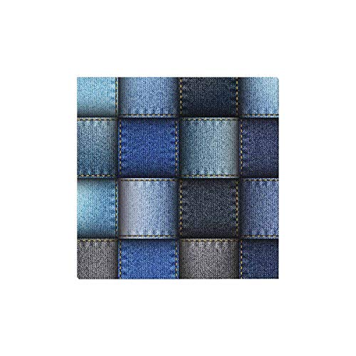 InterestPrint Modern Blue Jeans Patchwork Background Canvas Prints Wall Art Stretched and Framed Modern Home Decor, 16 x 16 Inches ()