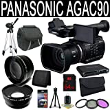 Panasonic AG-AC90 AVCCAM Handheld Camcorder + 64GB SDXC Class 10 Memory Card + 49mm Wide Angle Lens + 49mm 2x Telephoto Lens + 49mm 3 Piece Filter Kit + Carrying Case + Full Size Tripod + Multi Card USB Reader + Memory Card Wallet + Deluxe Starter Kit