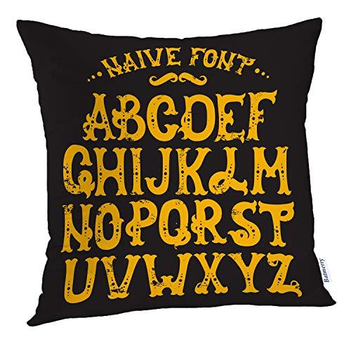 Batmerry Vintage Pillow Covers 18x18 inch,Hand Trendy Vintage Retro Circus Halloween Font Alphabet Magic Fantasy Throw Pillows Covers Sofa Cushion Cover Pillowcase