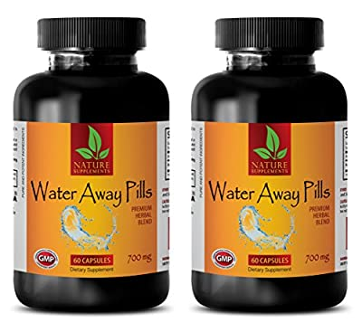 metabolism accelerator - WATER AWAY PILLS 700 Mg - PREMIUM HERBAL BLEND - immune system defense - 2 Bottles (120 Capsules)