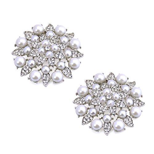 ElegantPark BK Fashion Rhinestones Pearls Women Wedding Accessories Dress Hat Shoes Clips 2 Pcs Silver by ElegantPark