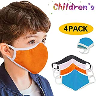 Rusilay Kids Washable Bandanas,Multicolor Face Bandanas,Mouth Fabric Screen,Washable Mouth Cloth with Comfortable Earloop,Pack of 4