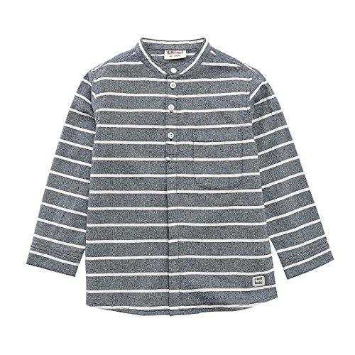 MOMOLAND Boys Long Sleeve Mandarin Collar Woven Button Down Shirt Linen Design Navy Stripe (6 Years, Navy and White - Poplin Shirts Patterned Boys