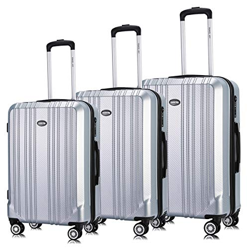Heavy Duty Luggage - Travel Joy Luggage Set Expandable Suitcase Carry On TSA Locks Lightweight Spinner Wheels ABS+PC Premium Hardshell Luggage (SILVER-2, 3 pcs set(20