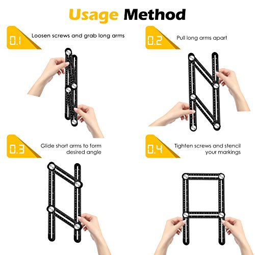 Template Tool Multi Angle Measuring Ruler General Measurement Tool Universal Upgraded Aluminum Alloy Angularizer Ruler for Craftsman Builder Carpenter Architect by XRB (Image #6)