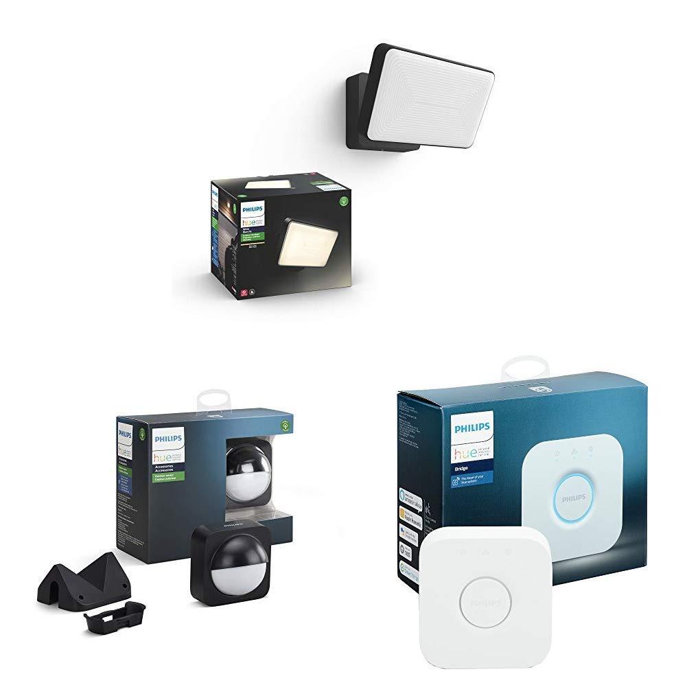 Hue Outdoor Security Starter Set, Welcome Security Floodlight plus Motion Sensor & Hue Hub