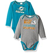 Gerber Childrenswear NFL Miami Dolphins Boys Long Sleeve Bodysuit (2 Pack), 3-6 Months, Aqua