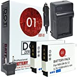 DOT-01 2x Brand Nikon Coolpix W300 Batteries and Charger for Nikon Coolpix W300 Waterproof Camera and Nikon W300 Battery and Charger Bundle for Nikon ENEL12 EN-EL12