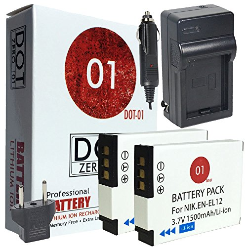 DOT-01 2x Brand Nikon Coolpix W300 Batteries and Charger for Nikon Coolpix W300 Waterproof Camera and Nikon W300 Battery and Charger Bundle for Nikon ENEL12 EN-EL12 by DOT-01
