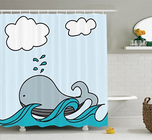 Ambesonne Nautical Decor Collection, Floating Baby Whale over Sea Waves Splashes Wildlife Cartoon Childlike Image, Polyester Fabric Bathroom Shower Curtain Set with Hooks, Blue White