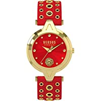 Versus Versace V_VERSUS eyelets Womens IP Gold Red Leather Analog Stainless Steel Watch SCI020016