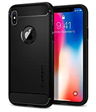 Spigen Funda Rugged Armor, Compatible con iPhone X/XS - Negro