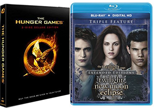 The Twilight Saga: Extended Edition Triple Feature New Moon / Eclipse Blu Ray + The Hunger Games - 3 Disc Special Edition