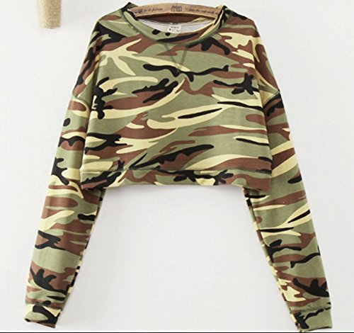 Fashion New Women Casual Camouflage Long Sleeve T shirts Long Sleeve Crop Top Camouflage Hoodies High Waist Pullovers Color:Light Green Size:L