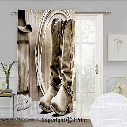 (Western Extra Wide Chiffon Sheer curtain,Traditional Rodeo Supplies with Roper Boots in Vintage Colors Nostalgic Wild Photo Decorative,for Large Window/Sliding Glass Door/Patio Door,100x108inch,Black)