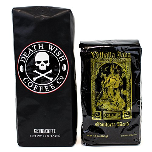 Death Wish & Valhalla Java Ground Coffee Bundle Deal, USDA Certified Organic & Fair Trade (1 of Each Bag)