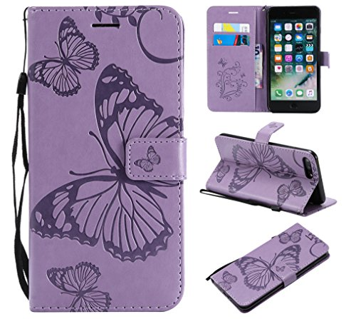Price comparison product image iPhone 8 Plus Wallet Case, iPhone 8 Plus Case with Card Holder, iPhone 7 Plus Leather Flip PU Phone Case Cover with Stand & Credit Card Holder Slots for Apple iPhone 7 Plus / 8 Plus, Butterfly Light Purple