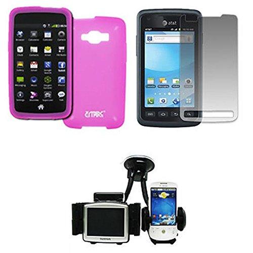 EMPIRE Samsung Rugby Smart I847 Silicone Skin Case Tasche Hülle Cover (Hot Pink Rosa) + Auto Windschutzscheibe Bergs + Displayschutzfolie Film