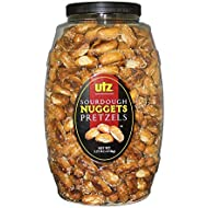Utz Sourdough Nuggets Pretzels – 52 oz. Barrel – Bite-Size Pretzels with Classic Sourdough Flavor, Perfectly Salted with Zero Cholesterol per Serving