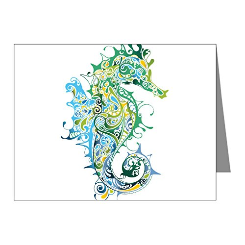 CafePress - Paisley Seahorse Note Cards - Blank Note Cards (Pack of 20) Glossy (Note Seahorses)