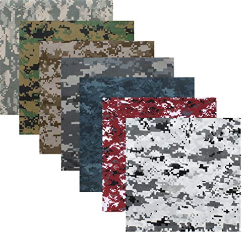 7 Pack - Digital Camouflage Cotton Military Bandanas (22