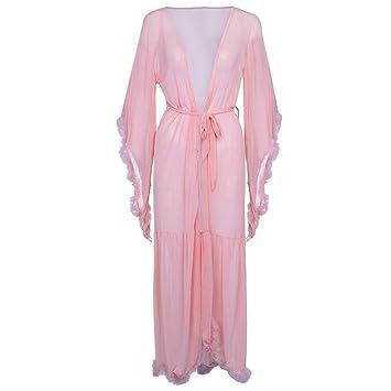d77637dd4ad MatureGirl Women Long Nightdress Lingerie Nightgown Sleepwear Sexy Robe  (Pink)