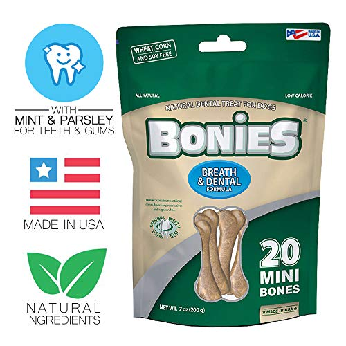 - BONIES Natural Dental Bones Multi-Pack Mini for Dogs 5-15 LBS - Natural Dog Treat - Low Calories - Chicken Flavor - 20 Bones
