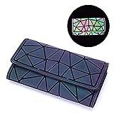 Harlermoon Geometric Luminous Holographic Purses and Handbags Flash Reflactive Tote for Women … (wallet)