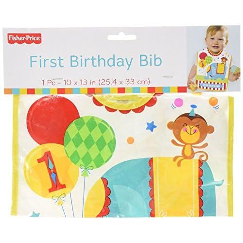 "Fisher-Price Circus 1St Birthday Vinyl Baby Bib (Pack Of 1), Multicolor, 13"" x 10"""