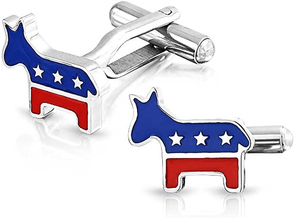 Bling Jewelry Patriotic American USA Red White Blue Political Democrat Party Donkey Cufflinks for Men Stainless Steel Hinge Back