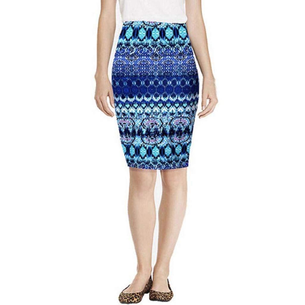 MISYAA Womens Skirts Pencil Skirts Mid Knee-Length Elastic High Waist Printing Skirt Dresses Besties Gifts(Blue,Medium)