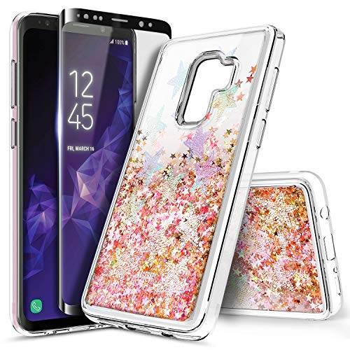 Galaxy S9+ Plus Case with Screen Protector (3D PET Full Coverage) for Girls Women, NageBee Glitter Liquid Floating Sparkle Bling Waterfall Diamond Cute Case for Samsung Galaxy S9+ /S9 Plus -Star