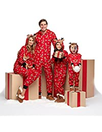 Family Matching Christmas Pajamas Set Sleepwear Jumpsuit Hoodie with Hood for Family