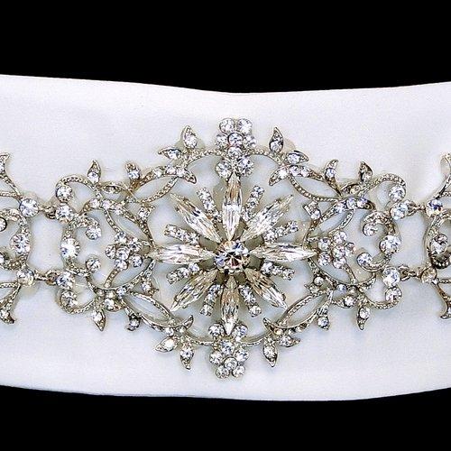 Floral Rhinestone Satin Wedding Bridal Sash Belt - Ivory