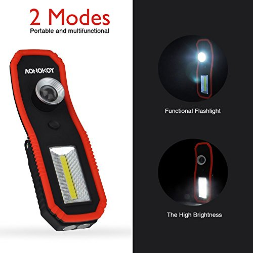 Portable LED Work Lights,Focus Function Multi-use 100LM XPE LED and 200LM COB,Waterproof Magnetic Base & Hanging Hook for Outdoor,Car Repairing, Blackout,Emergency,Travel and Indoor by AONOKOY (Image #2)