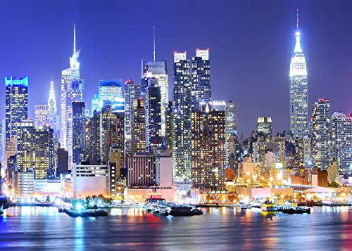 (York City Backdrop Manhattan Night Scene Skyscraper Urban Light Skyline Background Photo Studio Porps)