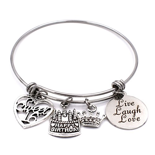 Stainless Steel Adjustable Wire Charm Bangle Sweet 16 Happy Birthday Jewelry 16th Birthday Gifts for (Sweet 16 Birthdays)