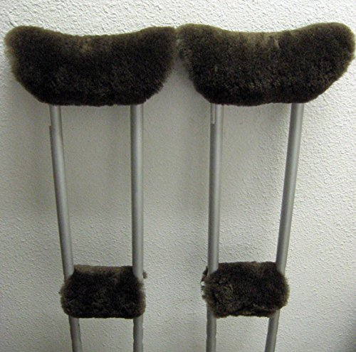 (Real Merino Sheepskin BROWN 4 Piece Crutch Pads Set = 1 pr Underarm + 1 Pr Hand Grips Made in USA By JMSProductsUSA)