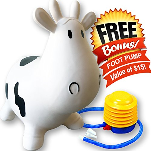 White Cow Bouncer - Inflatable Ride-on Bouncy Animal with Handle, Better than Hop Ball, Gymnic Rody Horse, and Round Hopper ++ Free Pump (Infant Bouncy Toy)