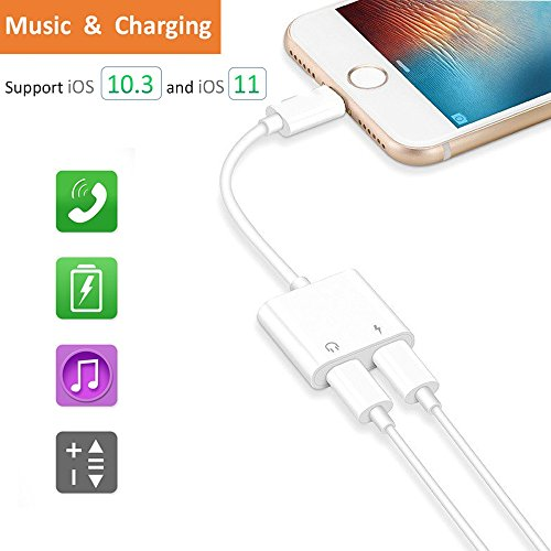 Dual Lightning Adapter For Iphone 8 8 Plus  Iphone X  Iphone 7 7 Plus  Worice Lightning To Double Lightning Headphone Audio   Charge Splitter For Ios 11   Support Micro And Volume Control