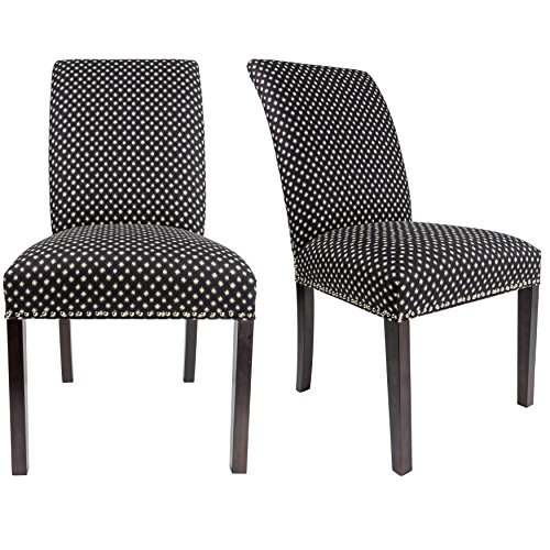 Sole Designs The Dayna Collection Modern Style Fabric Upholstered Designer Patterned Armless Dining Side Chairs (Set of 2), Black - Designer Style Fabric Upholstered Chair