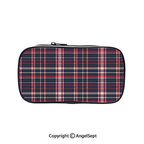 Cute Pencil Case - High Capacity,Classic Quilt Checkerboard Pattern with Pixel Art Inspirations Traditional Image Decorative Multicolor 5.1inches,Multifunction Cosmetic Makeup Bag,Perfect Holder for ()